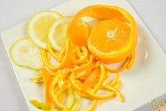 Orange and lemon peeled Royalty Free Stock Image