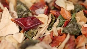 Flavory mixture of dried herbs and vegetables for sophisticated gourmet dishes. Stock footage stock video