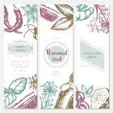 Flavoured Products - hand drawn template banner. Royalty Free Stock Image