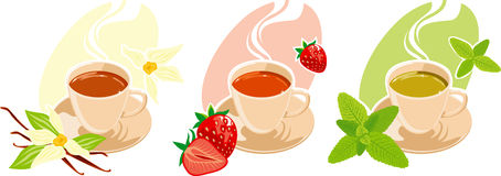 Flavoured tea. Three cups of different flavoured tea. Vanilla flavor, mint and strawberry tea Royalty Free Stock Image