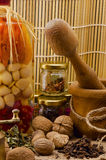 Flavourings. Many different spices and attributes Royalty Free Stock Photos