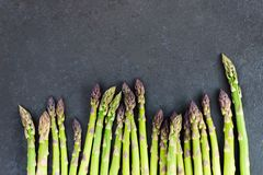 Flavoursome, sweet and tender British asparagus. Fresh and raw springtime vegetable Royalty Free Stock Image