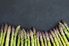 Flavoursome, sweet and tender British asparagus. Fresh and raw springtime vegetable Stock Photography
