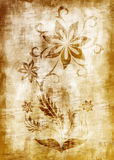 Flawer antique paper. Old and dirty flowers painted on wall Stock Images