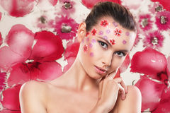 Flawers and girl stock photography