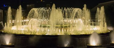 Flawles Magic Fountain. Magic Fountain show at night stock images