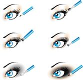 Flawless Eye Makeup icons. Black Shadow , Smoky. Flawless Eye Makeup icons. Makeup Trends - Black Shadow , Smoky. One of series mak-up rules illustrations stock illustration