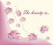 Flawless flowers background. Stylized, transparent and multicolored pastel flowers background. ''The beauty is'' text. Vector stock illustration