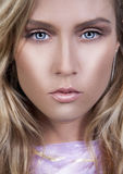 Flawless Skin. Closeup of young woman with clean young flawless skin Stock Images