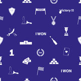 Flawless victory symbols blue and white seamless pattern Royalty Free Stock Image