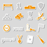 Flawless victory symbols set of color stickers Stock Image