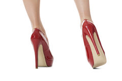 Flawless Woman Legs in Elegant Red High Heel Shoes Royalty Free Stock Image