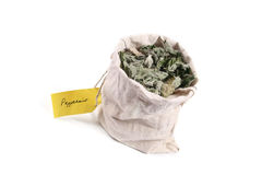 Flax bag full of dried peppermint Royalty Free Stock Photography