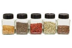 Flax, chia, hemp seeds and goji Stock Images