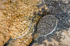 Flax and chia seeds Royalty Free Stock Photos