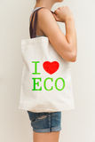 Flax eco bag Royalty Free Stock Photos
