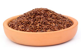 Flax or edible tisi seeds on a clay pottery Royalty Free Stock Image