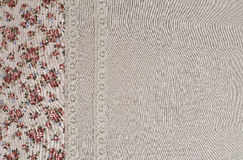 Flax fabric with lace Royalty Free Stock Photo