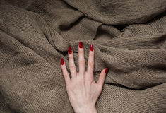 Flax fiber, linen fabric, raw material, cloth bags, linen yarn, female hand with red nails. On linen fabric, manicure, feminine long fingers, make clothes Stock Photo
