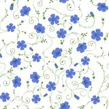Flax floral seamless pattern. Vector floral background of flax plant with flowers and buds Royalty Free Stock Photos