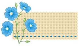 Flax flower and a piece of linen. Royalty Free Stock Photos