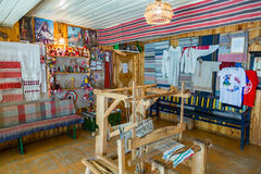 Flax Museum, Myshkin, Russia. MYSHKIN, RUSSIA - JUNE 18, 2017: Interior of the Russian Museum of linen and weaving Stock Image