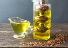 Flax oil. flax seed oil. stock image