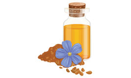 Flax oil and flower Royalty Free Stock Photography
