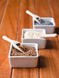 Flax, poppy and sesame seeds royalty free stock photo