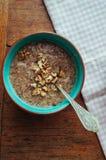 Flax porridge with walnuts Stock Image