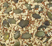 Flax, pumpkin, sesame and sunflower seeds healthy Royalty Free Stock Image