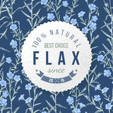 Flax round label with type design. Over hand drawn seamless pattern stock illustration
