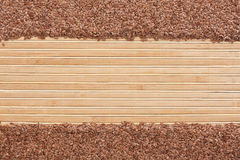 Flax seed  on a   bamboo mat Stock Photos