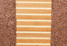Flax seed  on a bamboo mat Stock Photography