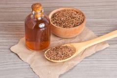 Organic flax seeds - Linum usitatissimum stock photography