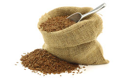 Flax seed (linseed) in a burlap bag Royalty Free Stock Photography