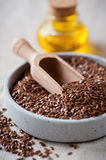Flax seed and linseed oil Royalty Free Stock Photography
