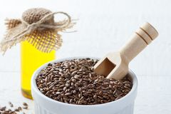 Flax seed and linseed oil royalty free stock photos