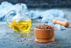 Flax seed and oil Royalty Free Stock Photo