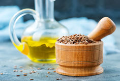 Flax seed and oil Stock Photos