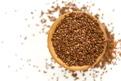Free Flax Seed On White Background Royalty Free Stock Photography - 137491477