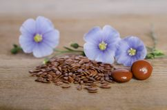 Flax seeds, beauty flower and pills on woooden background Stock Photography