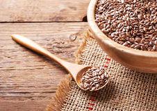 Flax seeds in bowl Stock Photography