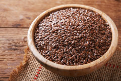 Flax seeds in bowl Stock Images
