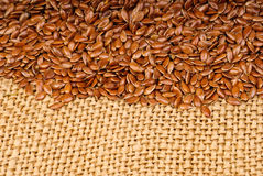 The flax seeds  on canvas Stock Photo