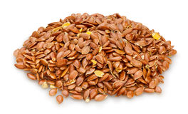 Flax seeds. Heap on white background royalty free stock images