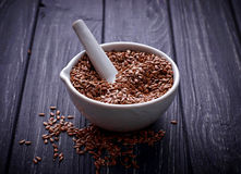 Free Flax Seeds In Pounder Stock Images - 68309984