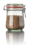 Flax seeds in a jar Stock Photo