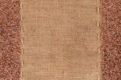 Flax seeds lies on sackcloth Stock Image