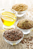Flax seeds and linseed oil Royalty Free Stock Image